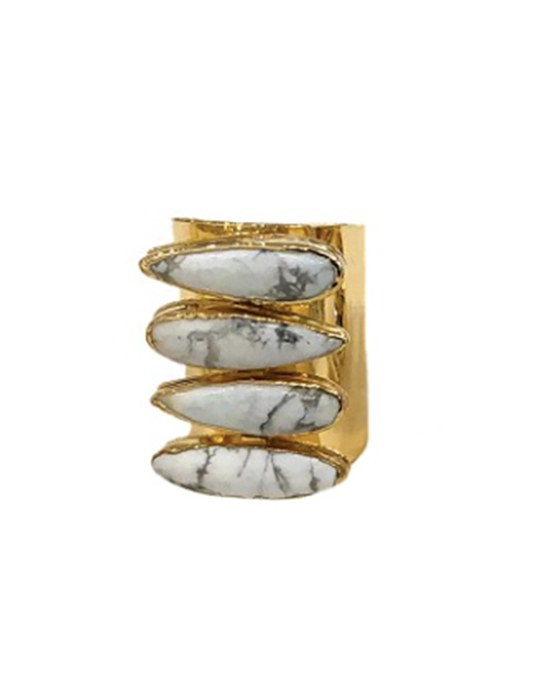 Howlite 4 Teardrop Cigar Ring 24K Gold Plated
