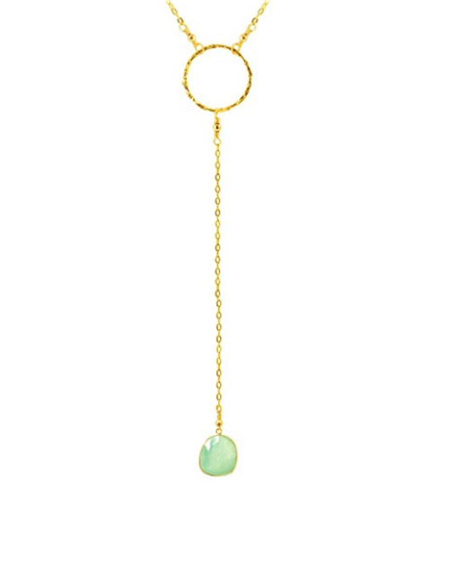 "1"" Circle Lariat Necklace With Turquoise Pendant 14K Gold Plated"
