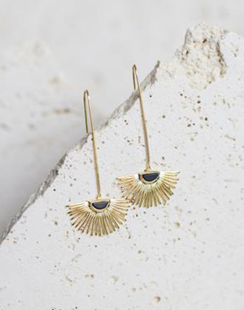 Starburst Drop Onyx Earring 18K Gold Plated