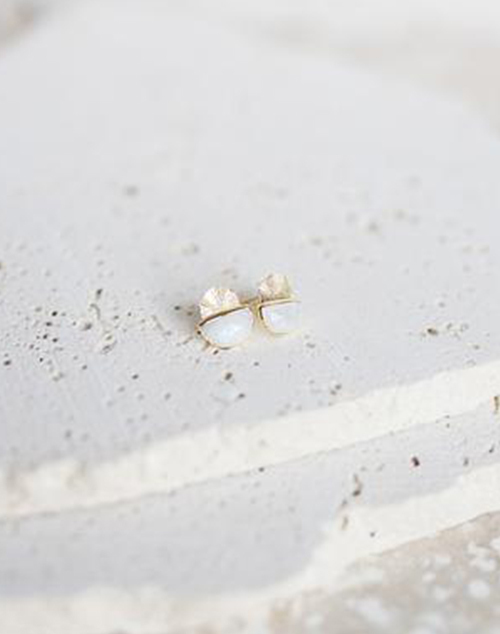 Laine Moonstone Stud Earring 18K Gold Plated