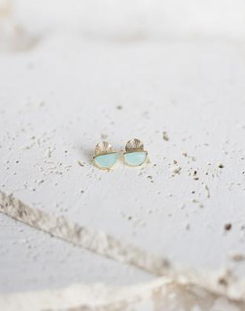Laine Aqua Stud Earring 18K Gold Plated