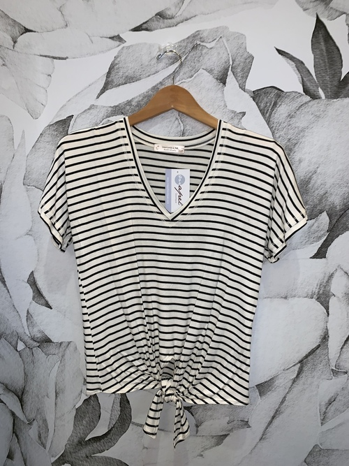 Jordan Stripe Short Sleeve Tie Front Top