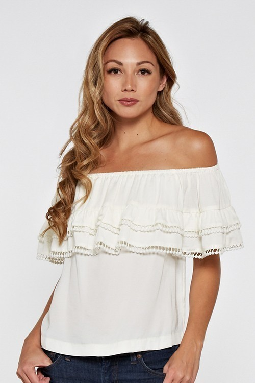 Off Shoulder Double Tiered Ruffle W/ Pom Edge