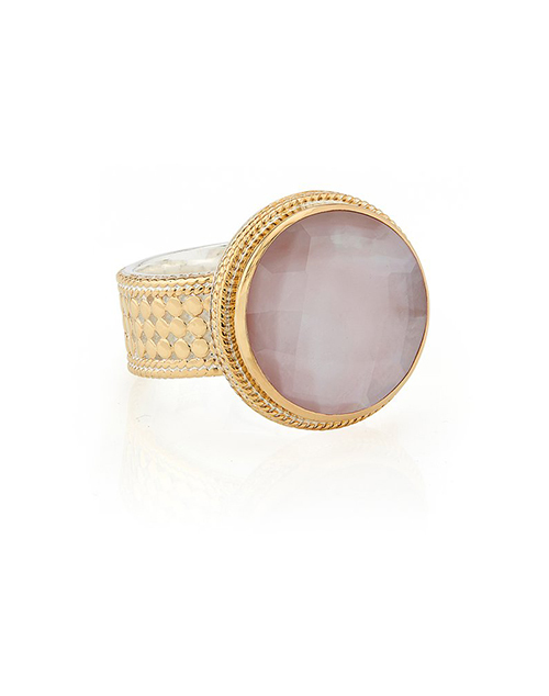 Guava Quartz Cocktail Ring -Gold