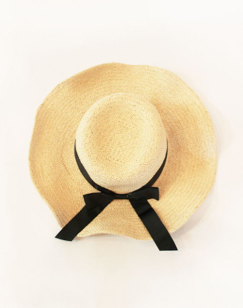 Wave Brim Ribbon Sun Hat - Sand