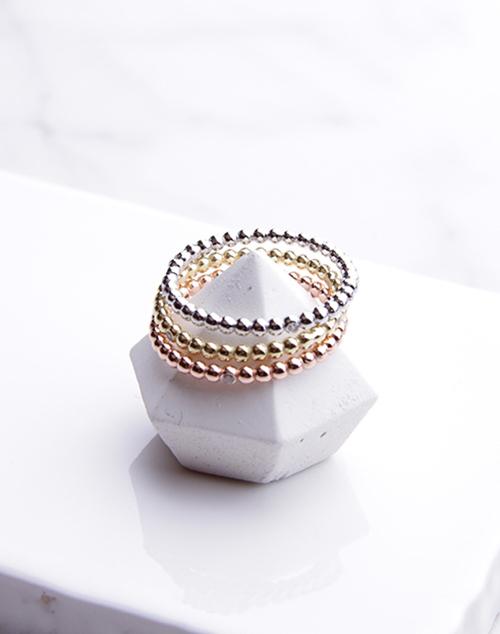 Tri Tone Dot Ring Set Sterling Silver