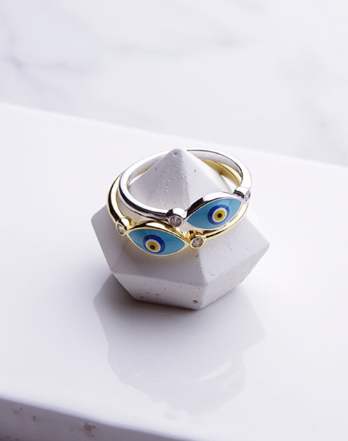 Laquered Evil Eye Ring
