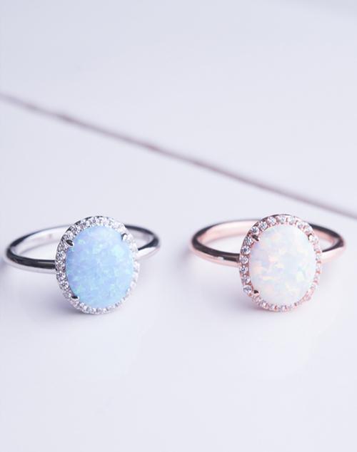 Oval CZ Halo Opal Ring