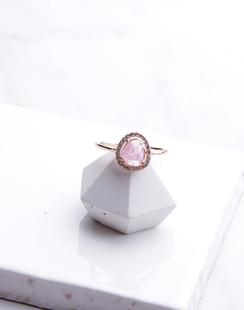 Pink Sparkle Halo Ring