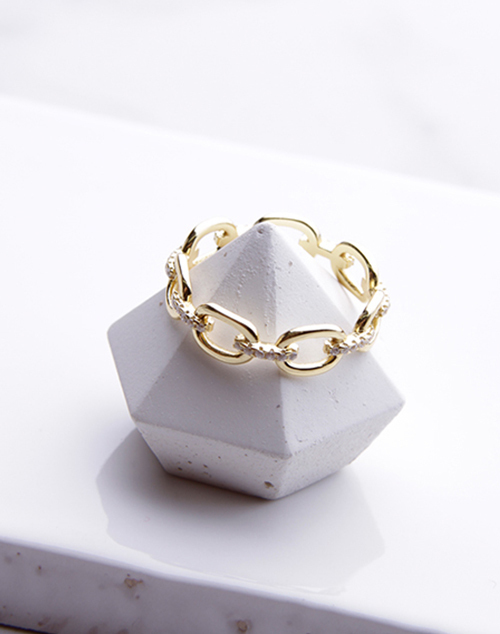 CZ Link Chain Ring