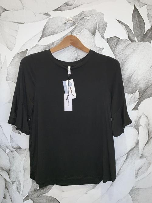 Black Sleek Jersey Ruffle Tee