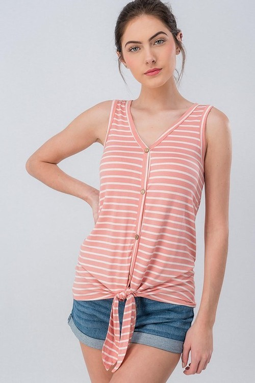 Pink Stripe Tie Front Sleeveless Button Down