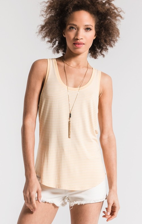 The Micro Stripe Jersey Tank Yellow Cream
