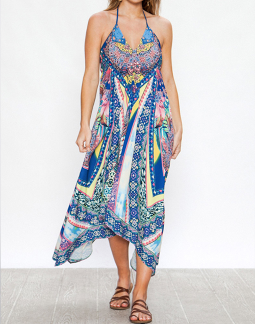 V Neckline Handkerchief Dress