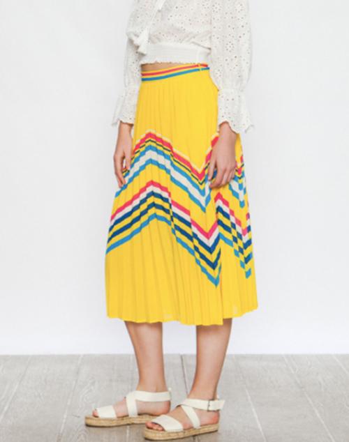 A Pleated Midi Skirt