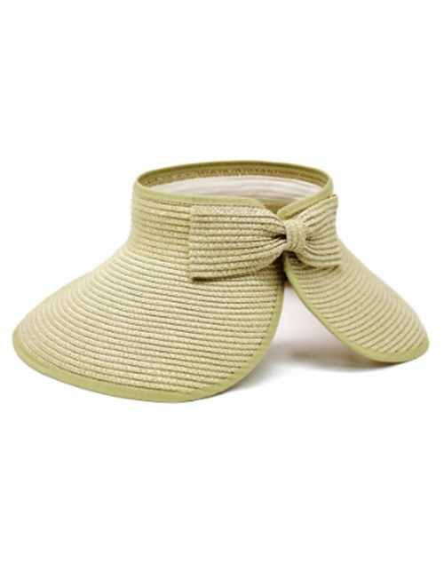 Roll Up Open Top Hat With Bow Clasp - Beige