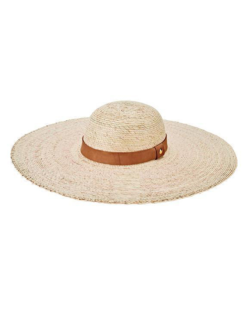 Palm Straw Floppy Hat Genuine Leather Band
