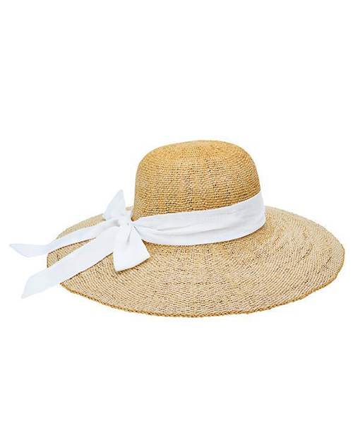 Woven Floppy Hat With Scarf Bow - White