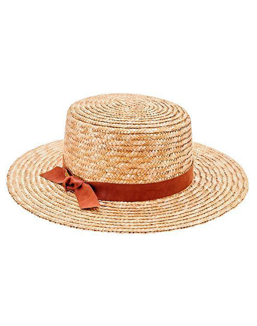 Wheat Straw Boater Hat Faux Leather Band