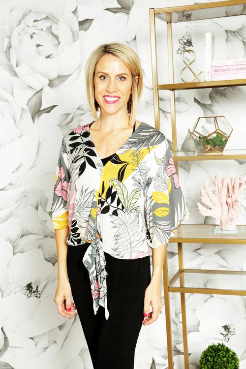 Pink Kimono Sleeve Tie Front Top