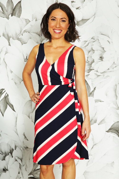 Red & Navy Striped Wrap Dress
