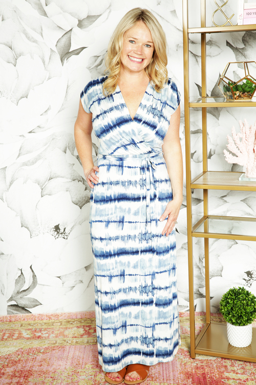 Blue Ajay Surplice Maxi Dress