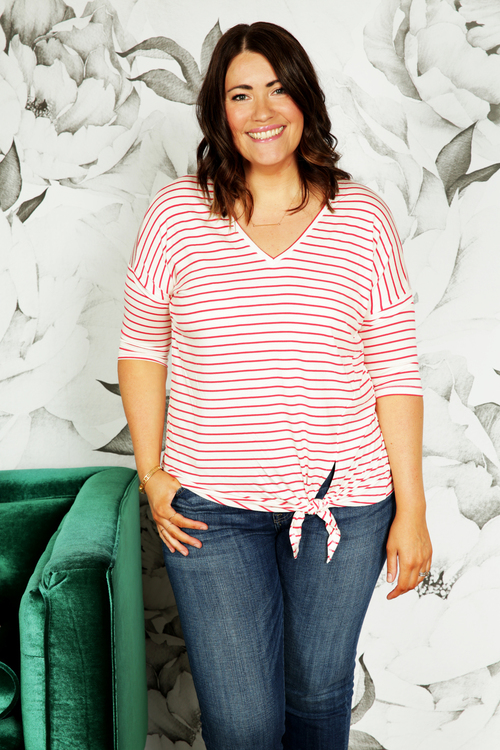 Poppy Red Stripe Side Tie Top