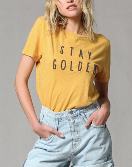 Stay Golden Embroidered Jersey Top