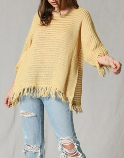 Quarter Sleeved Knitted Tunic With Fringe Bottom