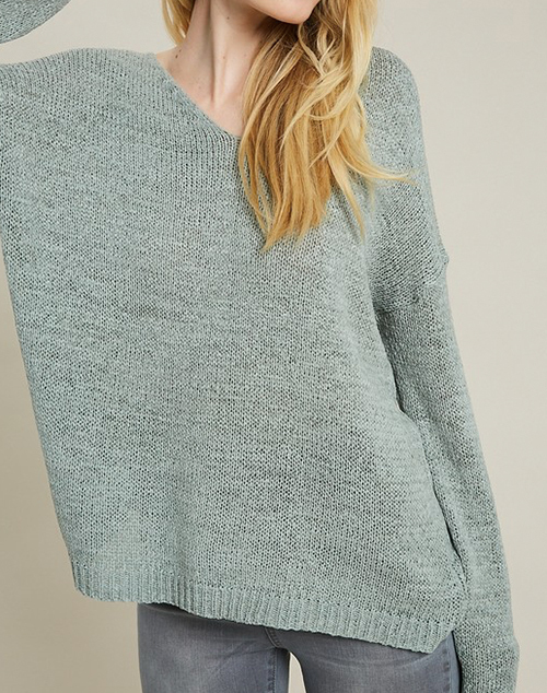 V Neck Knit Pullover Sweater