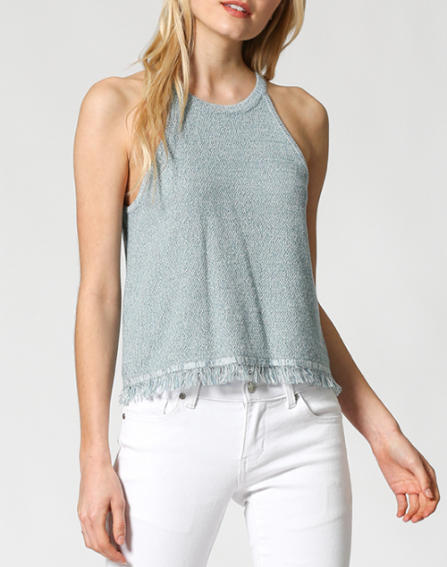 Halter Neck Sweater Tank Top Fringe Hem