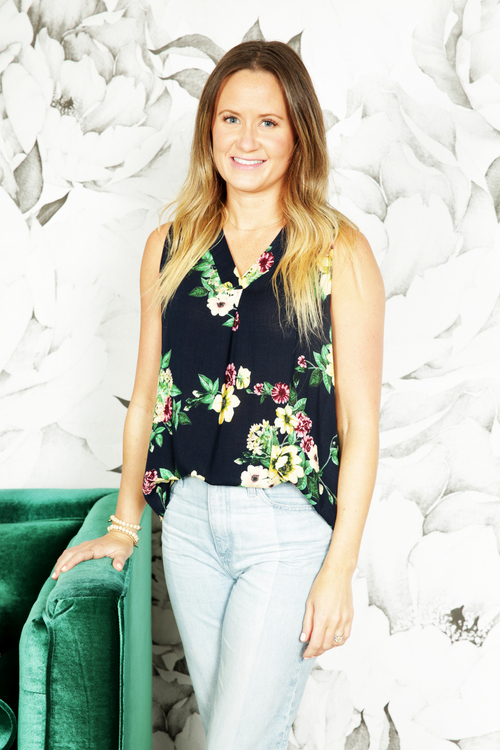 Draped Sleeveless Floral Top