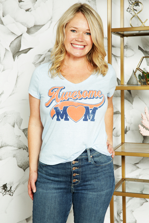 Awesome Mom V-Neck Short Sleeve Tee