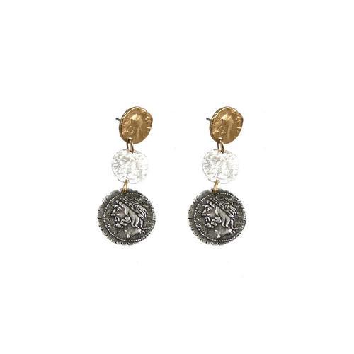 Multi Finish 3 Roman Coin Drop Earrings