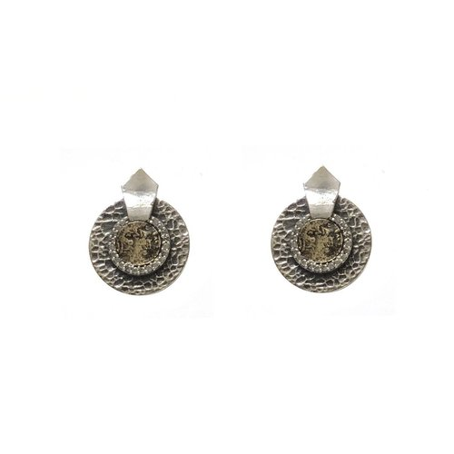 Vintage Silver Hammered Circular Shield VG Mini Dupre Earrings