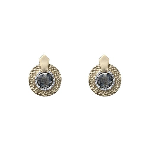 Gold Hammered Circular Shield VG Mini Dupre Earrings