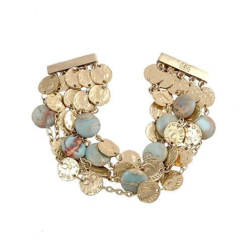 Blue Opal & Gold Roman Coin5 Row Bracelet