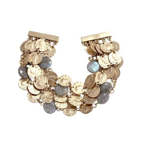 Labradorite & Gold Roman Coin 5 Row Bracelet