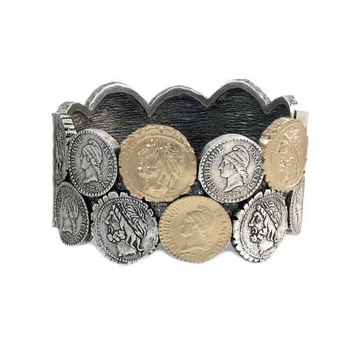 Vintage Silver & Gold Double Coin Bangle