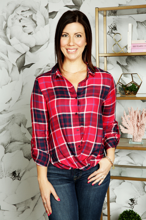 Plaid Gathered Front Button Down Top