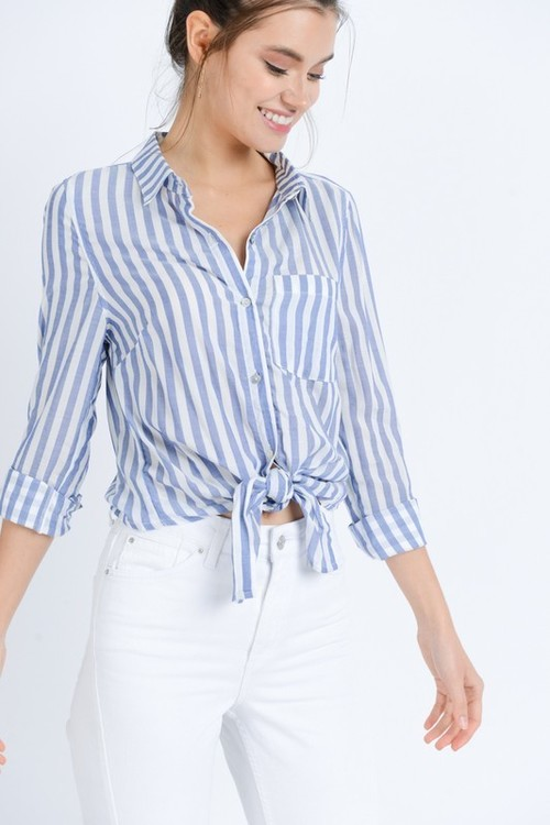 Blue & White Stripe Tie Front Button Down