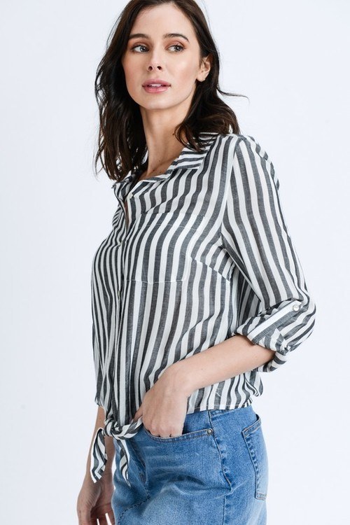 Black & White Stripe Tie Front Button Down