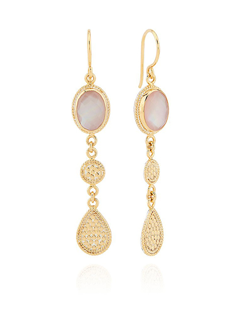 Guava Quartz Triple Drop Earrings - Gold