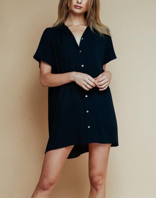 Button Up Collared Shirt Dress