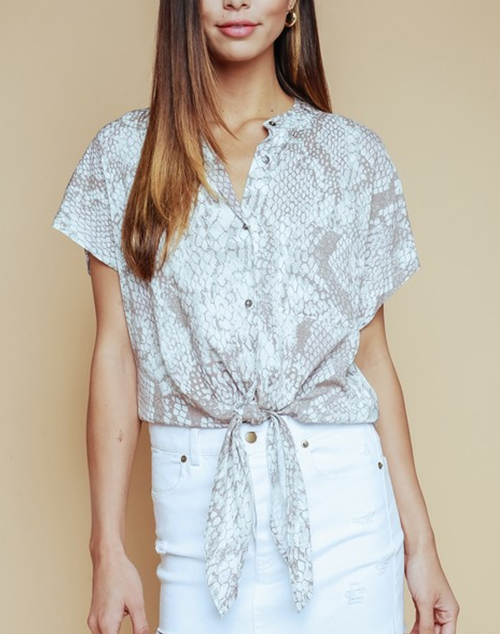 Short Sleeve Tie Front Button Down Top