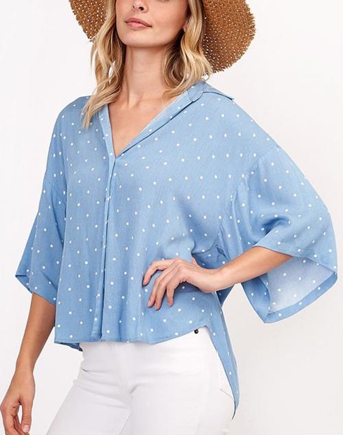 Bell Sleeve Polka Dot V Neck Top