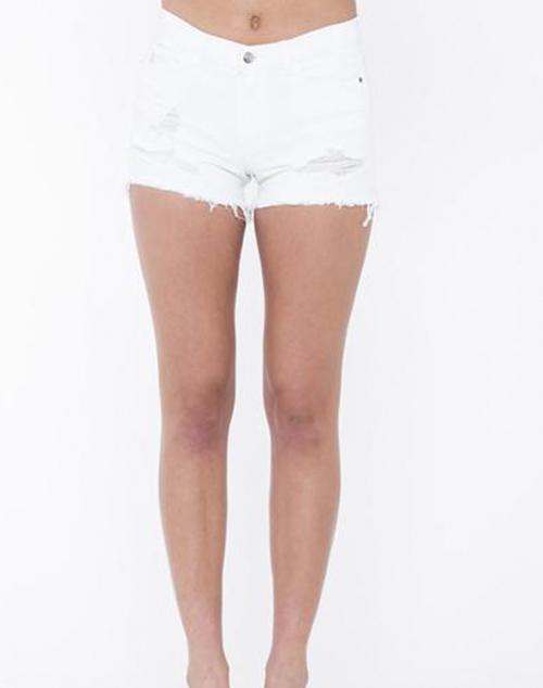 Distressed Mid Rise Denim Shorts