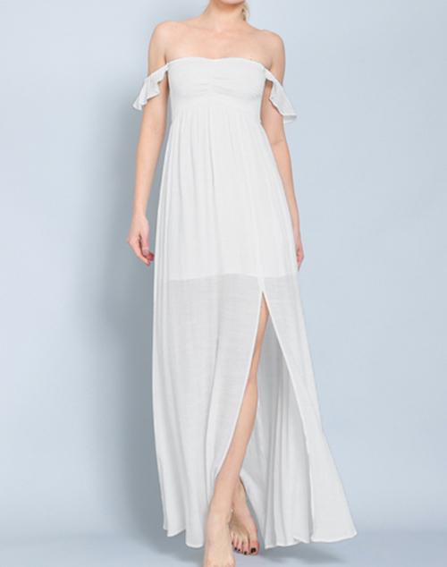 Smocking Off Shoulder Maxi Dress