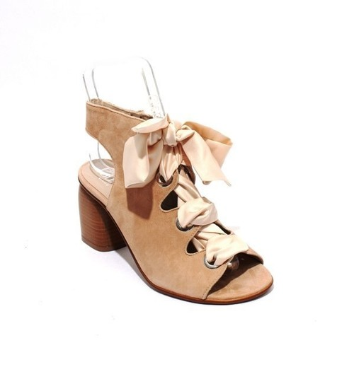 Beige Suede Zip-Up - Lace-Up Sandal Booties