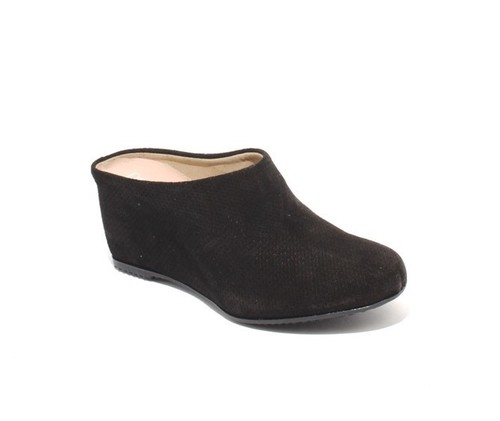 Black Perforated Suede / Leather Wedge Slip On Mules